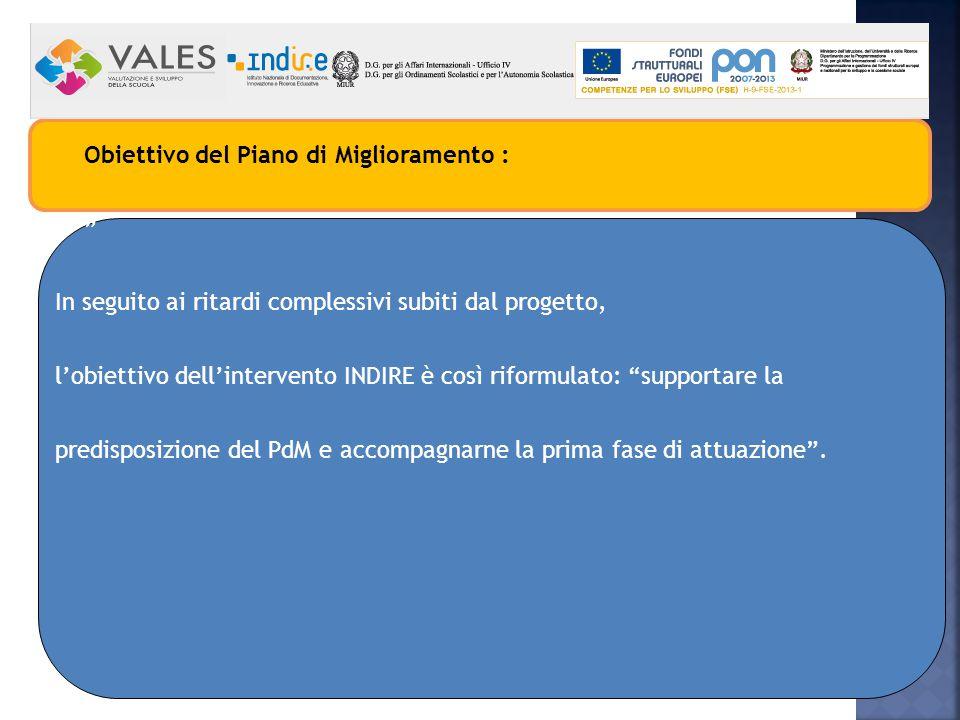 Obiettivo del Piano di Miglioramento : In seguito ai ritardi complessivi subiti dal progetto, l'obiettivo dell'intervento INDIRE è così riformulato: supportare la predisposizione del PdM e accompagnarne la prima fase di attuazione .