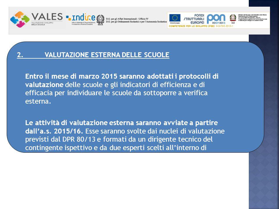 2. VALUTAZIONE ESTERNA DELLE SCUOLE Entro il mese di marzo 2015 saranno adottati i protocolli di valutazione delle scuole e gli indicatori di efficien