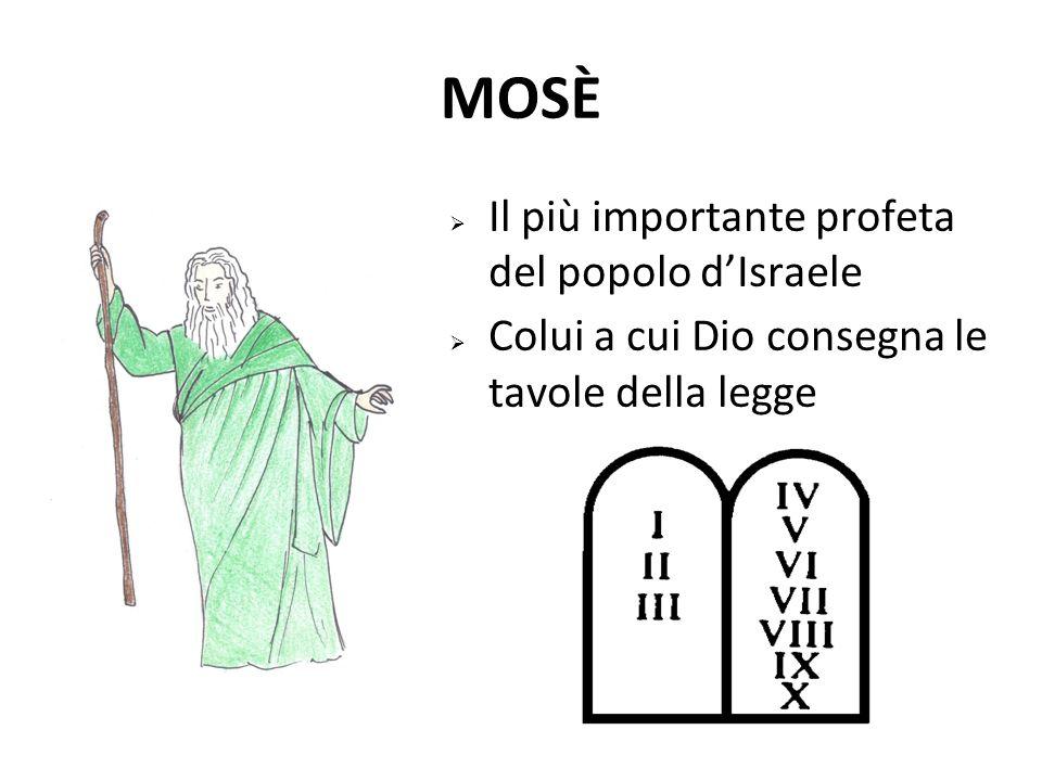 MOSÈ  Il più importante profeta del popolo d'Israele  Colui a cui Dio consegna le tavole della legge
