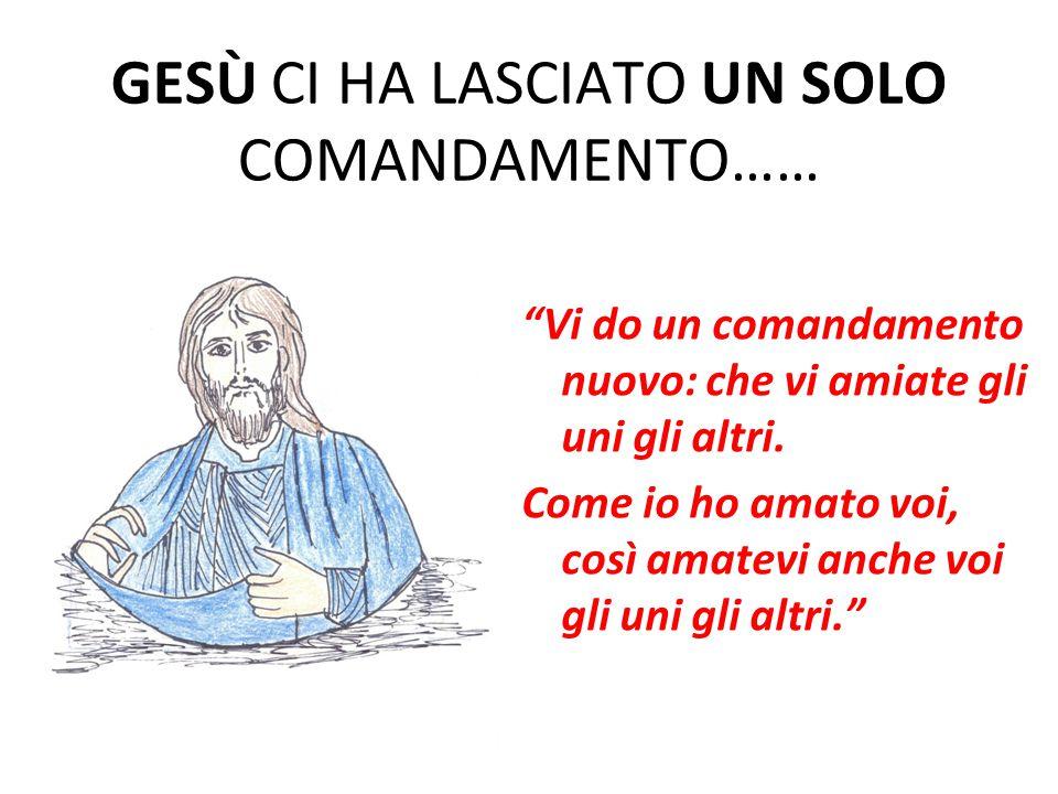 GESÙ CI HA LASCIATO UN SOLO COMANDAMENTO…… Vi do un comandamento nuovo: che vi amiate gli uni gli altri.