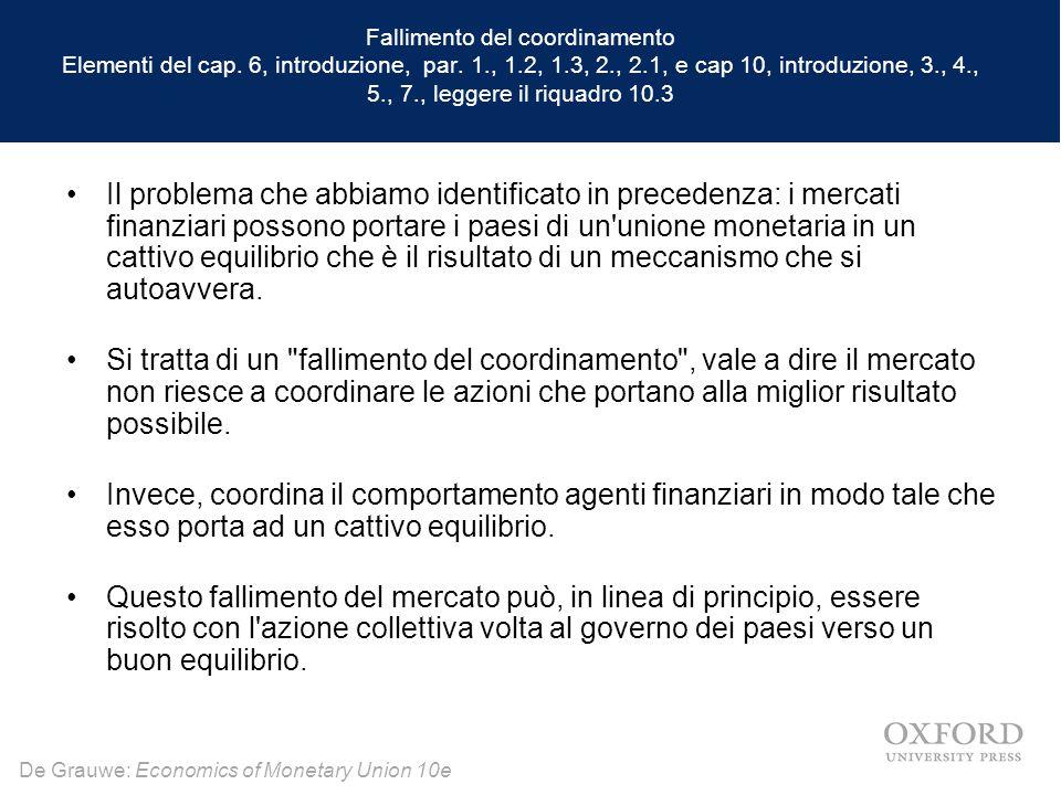 De Grauwe: Economics of Monetary Union 10e Fallimento del coordinamento Elementi del cap. 6, introduzione, par. 1., 1.2, 1.3, 2., 2.1, e cap 10, intro