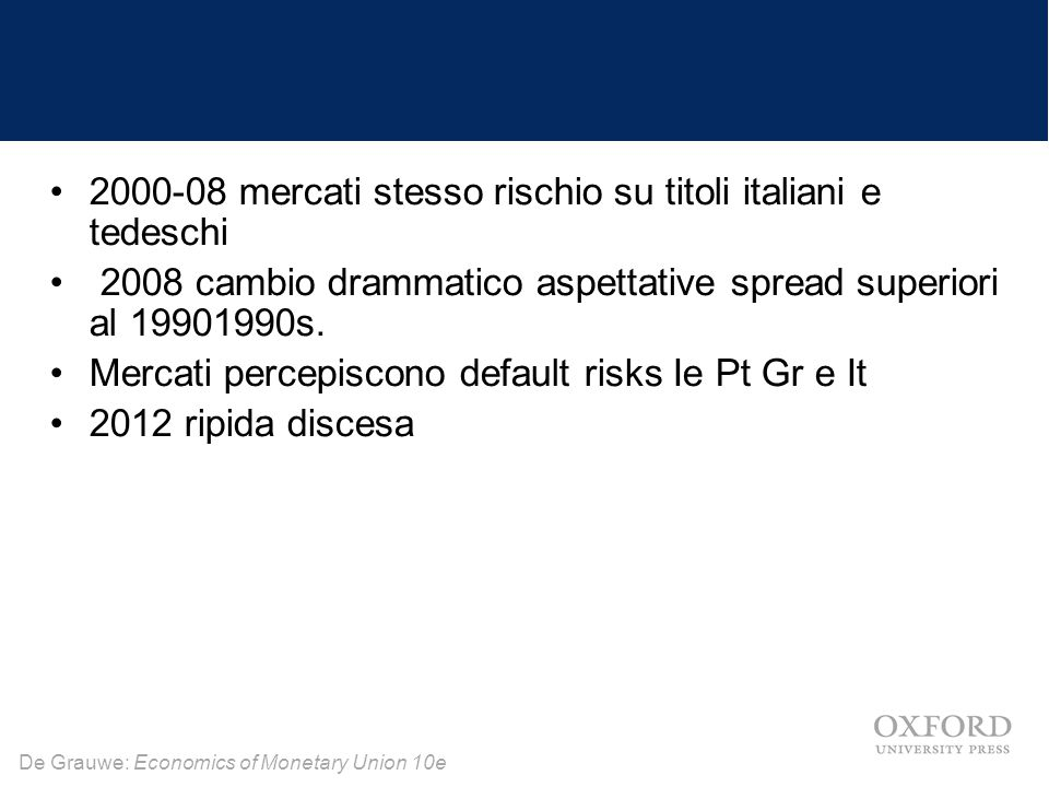 De Grauwe: Economics of Monetary Union 10e 2000-08 mercati stesso rischio su titoli italiani e tedeschi 2008 cambio drammatico aspettative spread supe