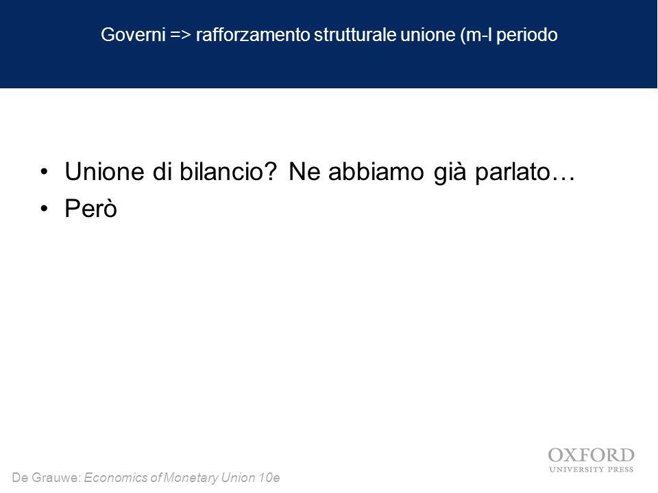 De Grauwe: Economics of Monetary Union 10e Governi => rafforzamento strutturale unione (m-l periodo Unione di bilancio? Ne abbiamo già parlato… Però