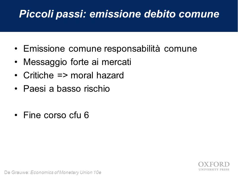De Grauwe: Economics of Monetary Union 10e Piccoli passi: emissione debito comune Emissione comune responsabilità comune Messaggio forte ai mercati Cr