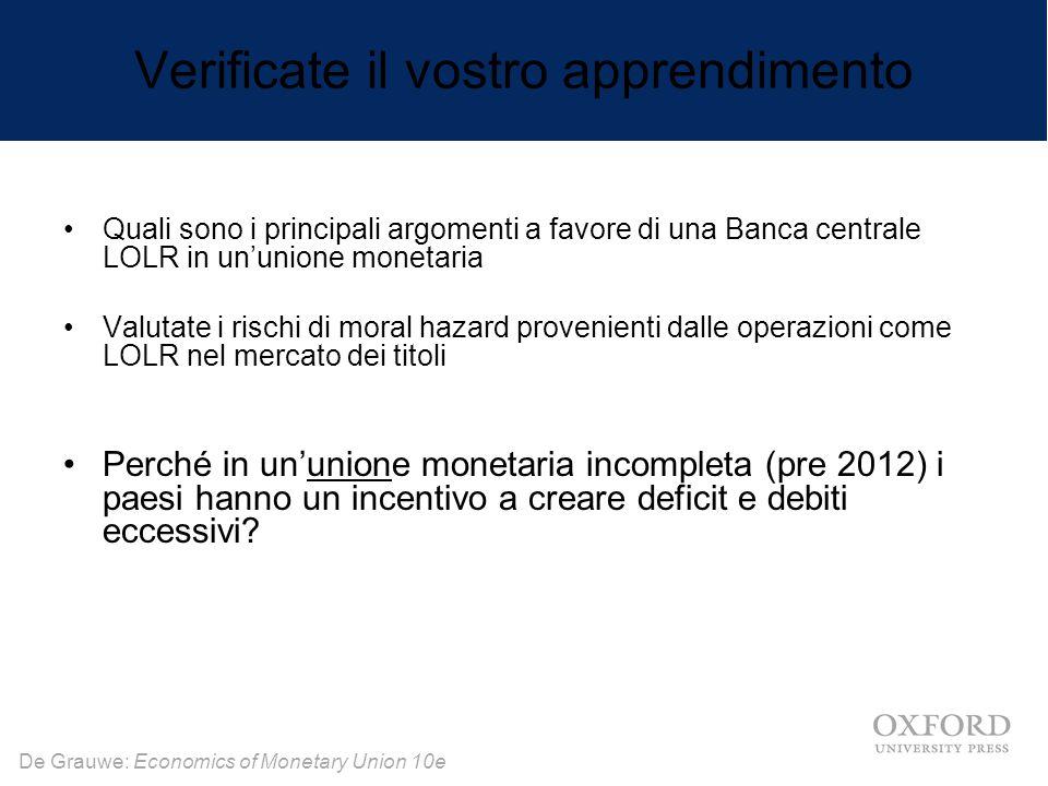 De Grauwe: Economics of Monetary Union 10e Verificate il vostro apprendimento Quali sono i principali argomenti a favore di una Banca centrale LOLR in
