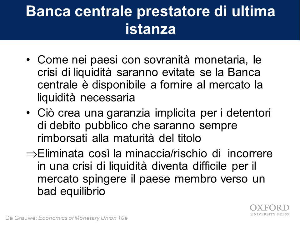 De Grauwe: Economics of Monetary Union 10e Banca centrale prestatore di ultima istanza Come nei paesi con sovranità monetaria, le crisi di liquidità s