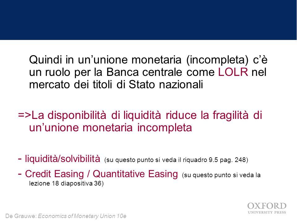 De Grauwe: Economics of Monetary Union 10e Quindi in un'unione monetaria (incompleta) c'è un ruolo per la Banca centrale come LOLR nel mercato dei tit