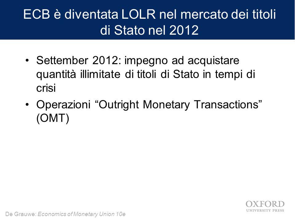"""De Grauwe: Economics of Monetary Union 10e Settember 2012: impegno ad acquistare quantità illimitate di titoli di Stato in tempi di crisi Operazioni """""""