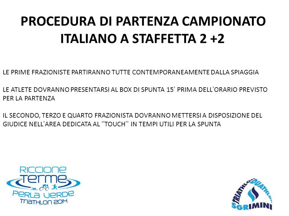 PROCEDURA DI PARTENZA CAMPIONATO ITALIANO A STAFFETTA 2 +2 LE PRIME FRAZIONISTE PARTIRANNO TUTTE CONTEMPORANEAMENTE DALLA SPIAGGIA LE ATLETE DOVRANNO