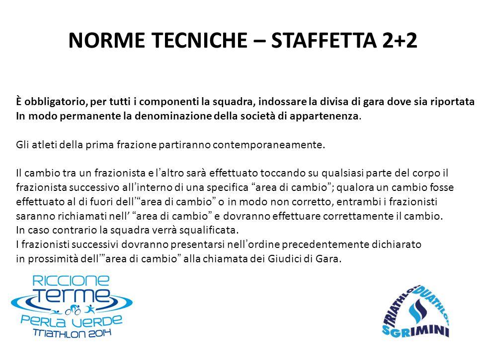 NORME TECNICHE – STAFFETTA 2+2 È obbligatorio, per tutti i componenti la squadra, indossare la divisa di gara dove sia riportata In modo permanente la