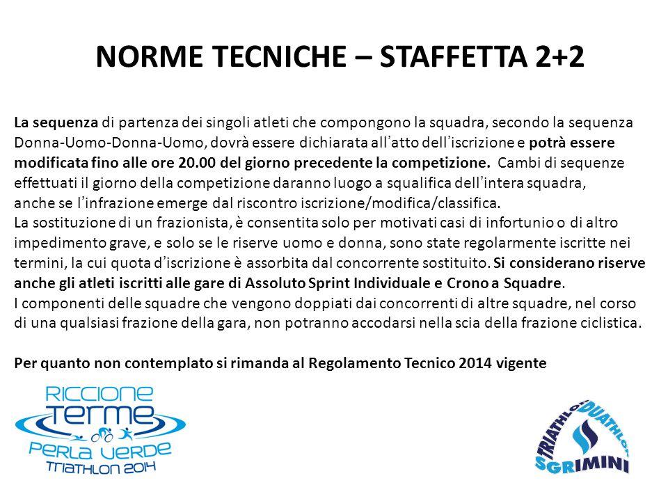 NORME TECNICHE – STAFFETTA 2+2 La sequenza di partenza dei singoli atleti che compongono la squadra, secondo la sequenza Donna-Uomo-Donna-Uomo, dovrà