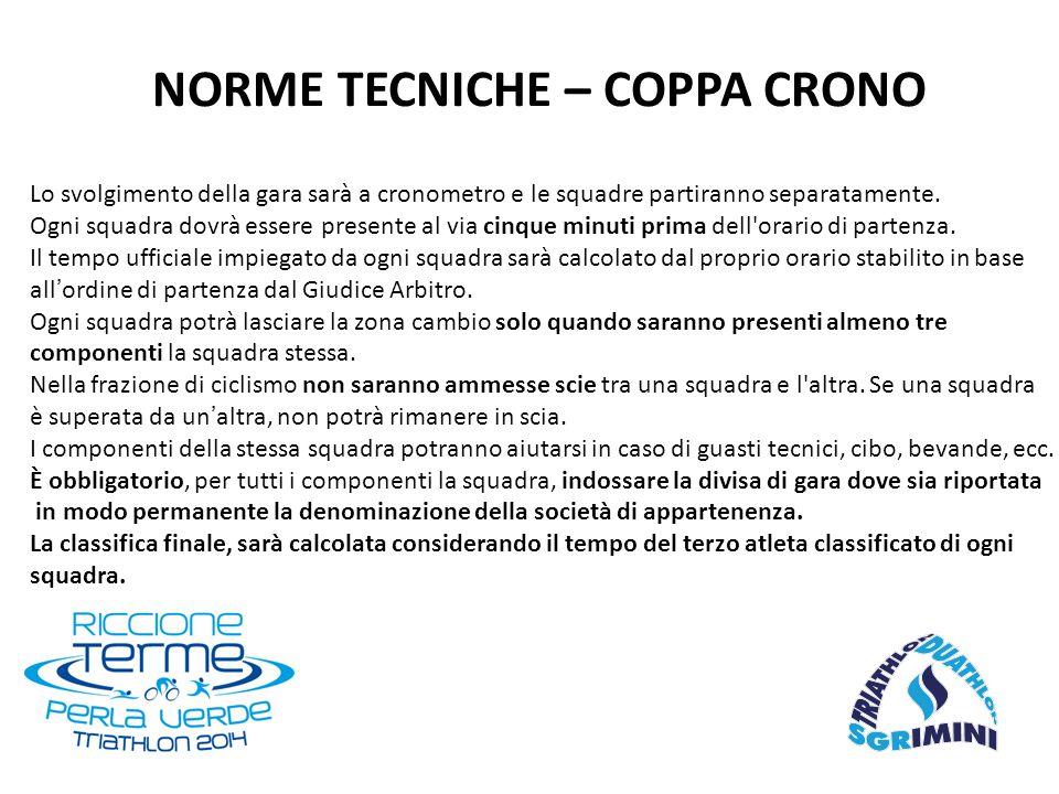 NORME TECNICHE – COPPA CRONO Lo svolgimento della gara sarà a cronometro e le squadre partiranno separatamente. Ogni squadra dovrà essere presente al