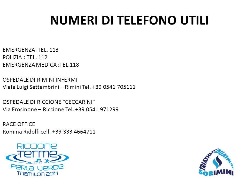 EMERGENZA: TEL. 113 POLIZIA : TEL. 112 EMERGENZA MEDICA :TEL.118 OSPEDALE DI RIMINI INFERMI Viale Luigi Settembrini – Rimini Tel. +39 0541 705111 OSPE