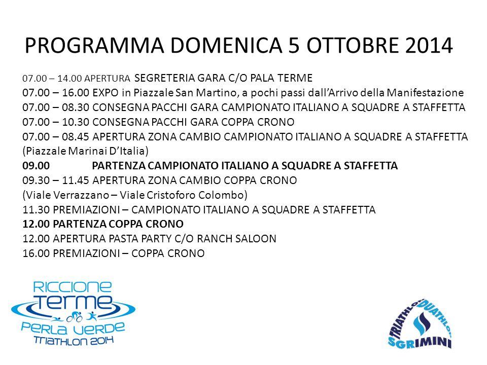 07.00 – 14.00 APERTURA SEGRETERIA GARA C/O PALA TERME 07.00 – 16.00 EXPO in Piazzale San Martino, a pochi passi dall'Arrivo della Manifestazione 07.00