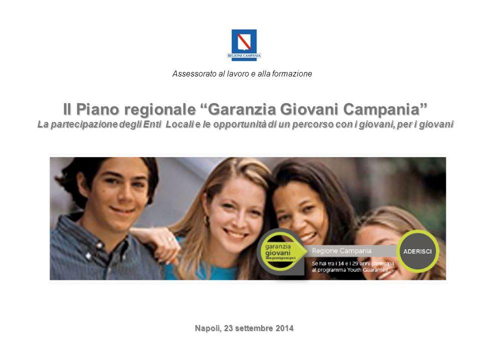 """Assessorato al lavoro e alla formazione Il Piano regionale """"Garanzia Giovani Campania"""" La partecipazione degli Enti Locali e le opportunità di un perc"""