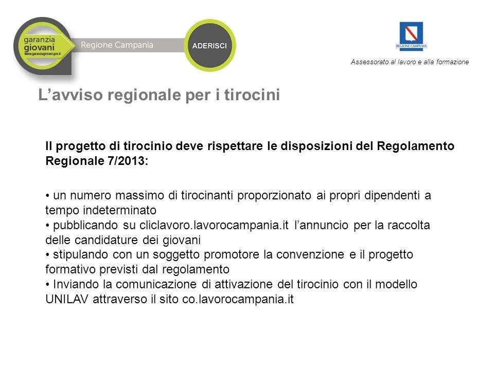 Assessorato al lavoro e alla formazione L'avviso regionale per i tirocini ll progetto di tirocinio deve rispettare le disposizioni del Regolamento Reg