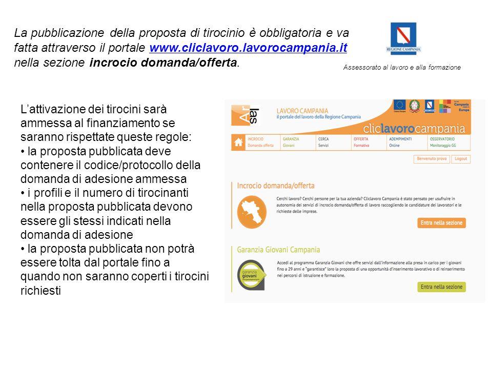 Assessorato al lavoro e alla formazione La pubblicazione della proposta di tirocinio è obbligatoria e va fatta attraverso il portale www.cliclavoro.la