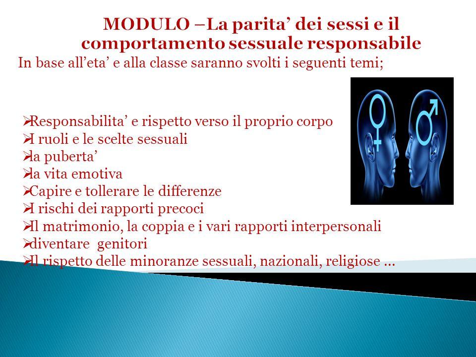 In base all'eta' e alla classe saranno svolti i seguenti temi;  Responsabilita' e rispetto verso il proprio corpo  I ruoli e le scelte sessuali  la