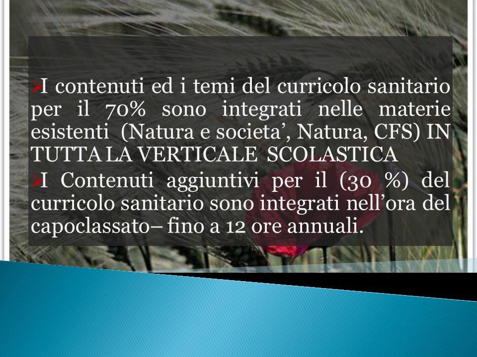  I contenuti ed i temi del curricolo sanitario per il 70% sono integrati nelle materie esistenti (Natura e societa', Natura, CFS) IN TUTTA LA VERTICA