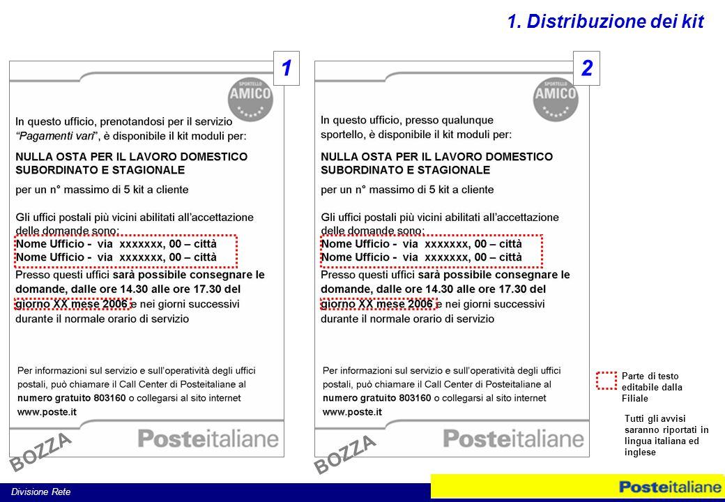 Divisione Rete Parte di testo editabile dalla Filiale Tutti gli avvisi saranno riportati in lingua italiana ed inglese 12 1.