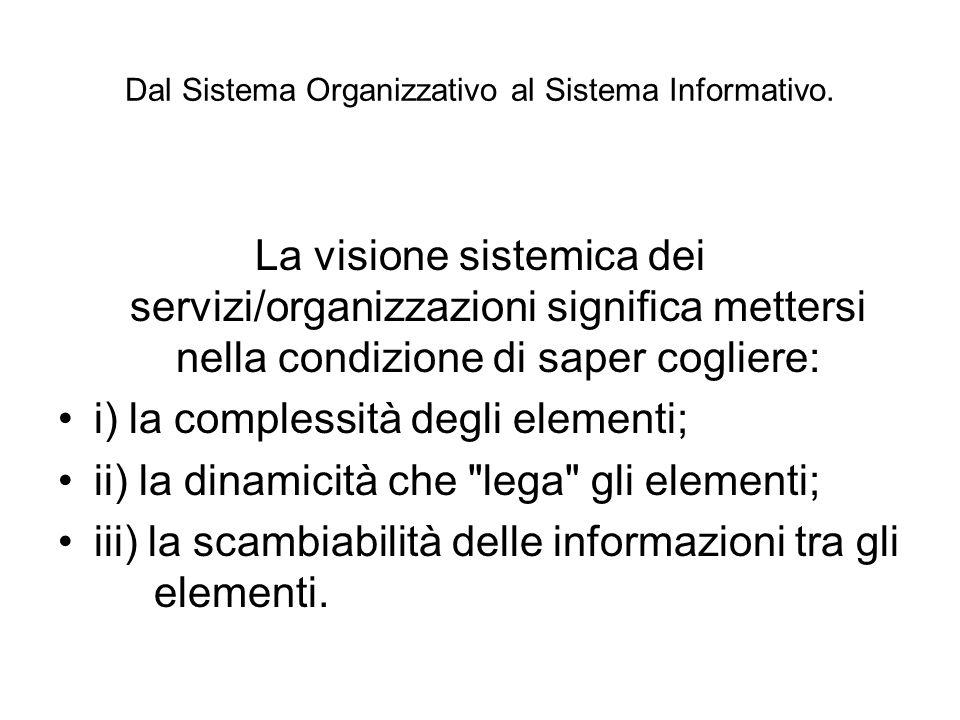 Dal Sistema Organizzativo al Sistema Informativo. La visione sistemica dei servizi/organizzazioni significa mettersi nella condizione di saper coglier