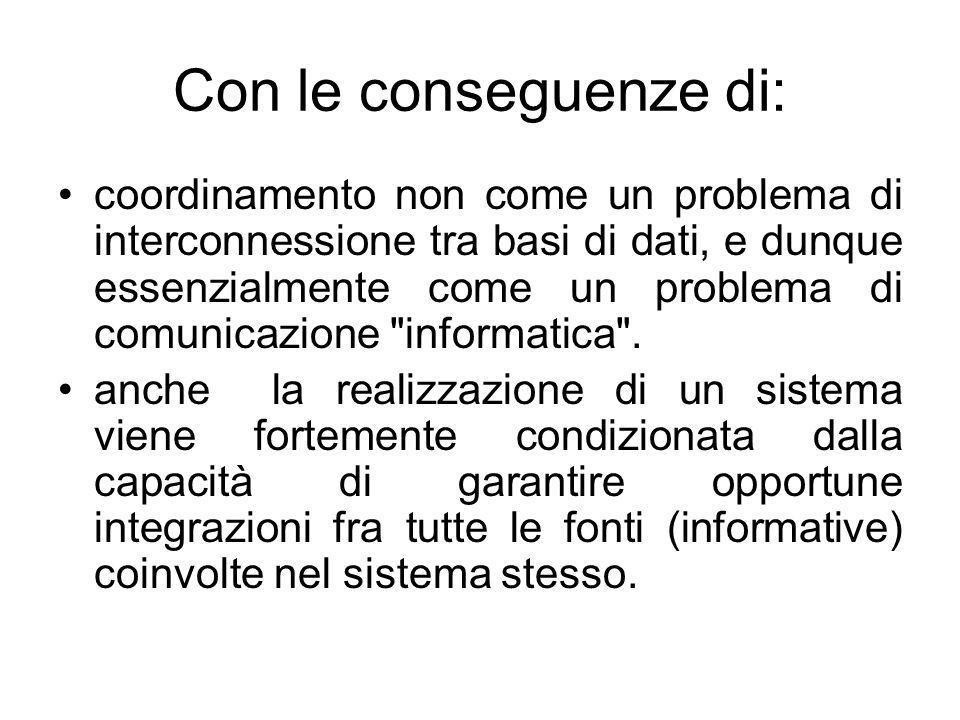 Con le conseguenze di: coordinamento non come un problema di interconnessione tra basi di dati, e dunque essenzialmente come un problema di comunicazi