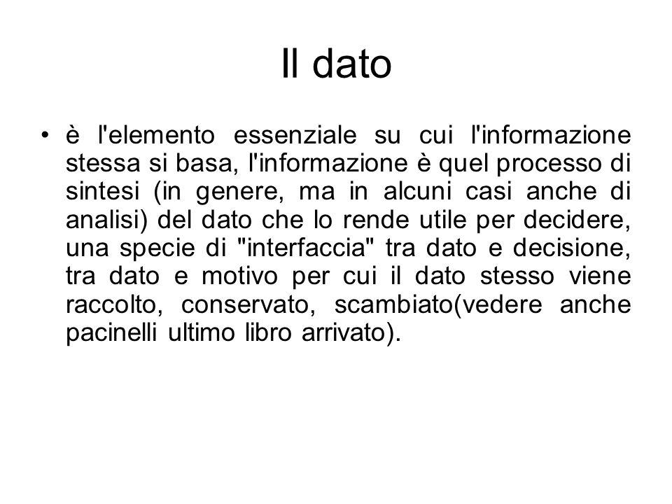 Il dato è l'elemento essenziale su cui l'informazione stessa si basa, l'informazione è quel processo di sintesi (in genere, ma in alcuni casi anche di