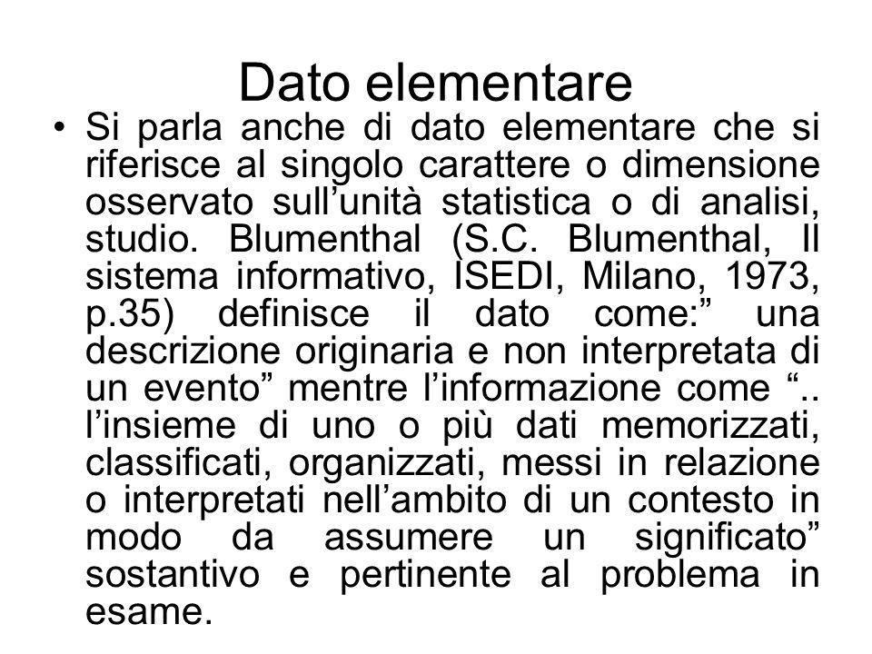 Dato elementare Si parla anche di dato elementare che si riferisce al singolo carattere o dimensione osservato sull'unità statistica o di analisi, stu
