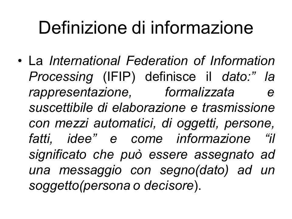 """Definizione di informazione La International Federation of Information Processing (IFIP) definisce il dato:"""" la rappresentazione, formalizzata e susce"""