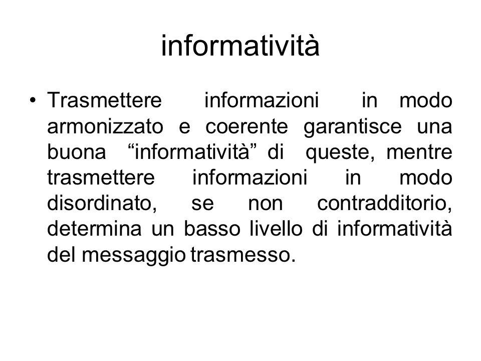 """informatività Trasmettere informazioni in modo armonizzato e coerente garantisce una buona """"informatività"""" di queste, mentre trasmettere informazioni"""