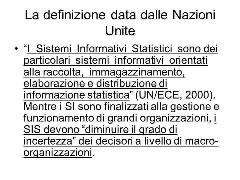 """La definizione data dalle Nazioni Unite """"I Sistemi Informativi Statistici sono dei particolari sistemi informativi orientati alla raccolta, immagazzin"""