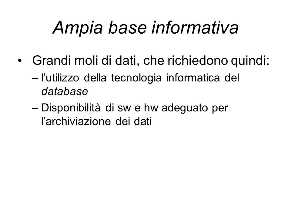 Ampia base informativa Grandi moli di dati, che richiedono quindi: –l'utilizzo della tecnologia informatica del database –Disponibilità di sw e hw ade