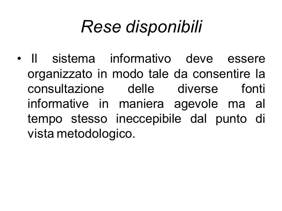 Rese disponibili Il sistema informativo deve essere organizzato in modo tale da consentire la consultazione delle diverse fonti informative in maniera
