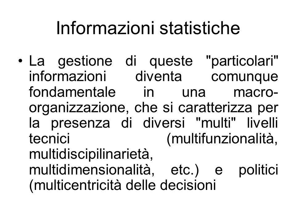 Informazioni statistiche La gestione di queste