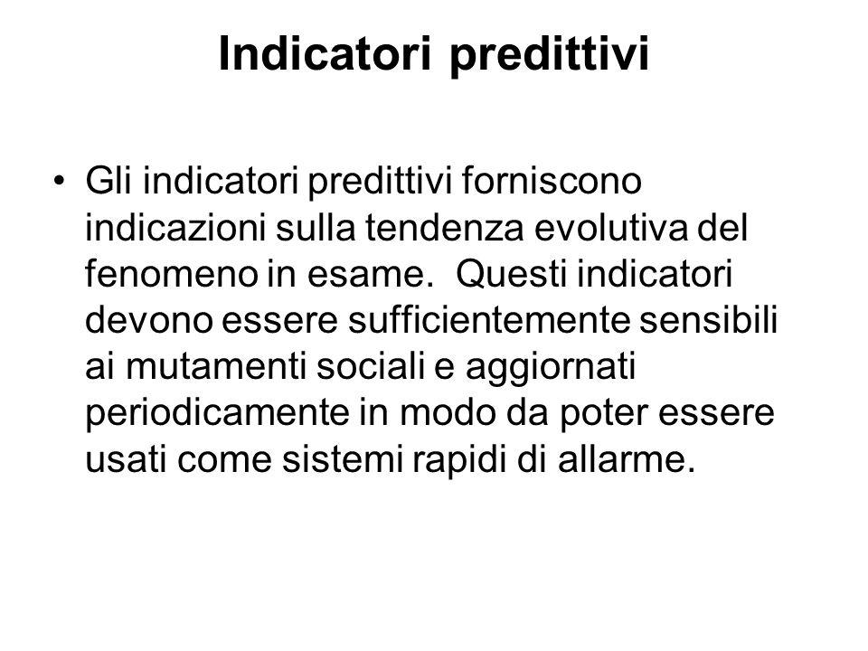 Indicatori predittivi Gli indicatori predittivi forniscono indicazioni sulla tendenza evolutiva del fenomeno in esame. Questi indicatori devono essere