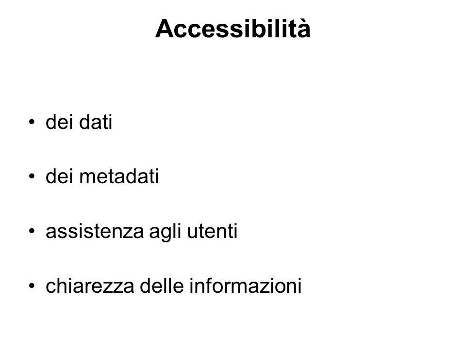 Accessibilità dei dati dei metadati assistenza agli utenti chiarezza delle informazioni