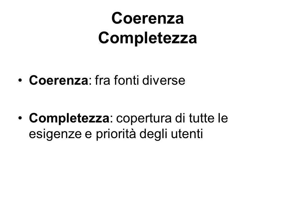 Coerenza Completezza Coerenza: fra fonti diverse Completezza: copertura di tutte le esigenze e priorità degli utenti