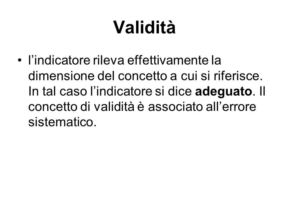 Validità l'indicatore rileva effettivamente la dimensione del concetto a cui si riferisce. In tal caso l'indicatore si dice adeguato. Il concetto di v