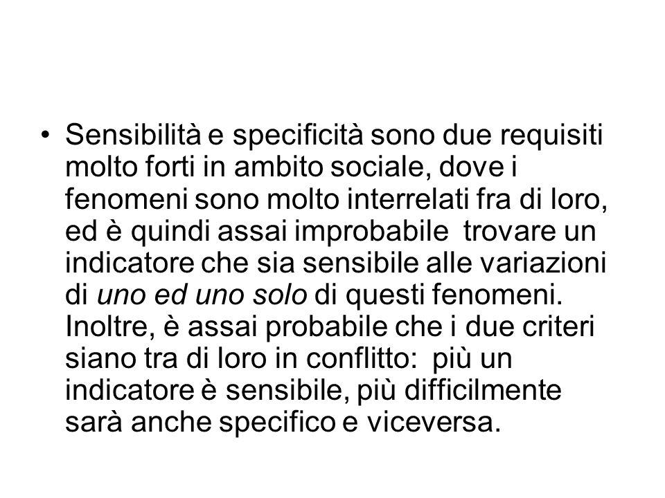 Sensibilità e specificità sono due requisiti molto forti in ambito sociale, dove i fenomeni sono molto interrelati fra di loro, ed è quindi assai impr