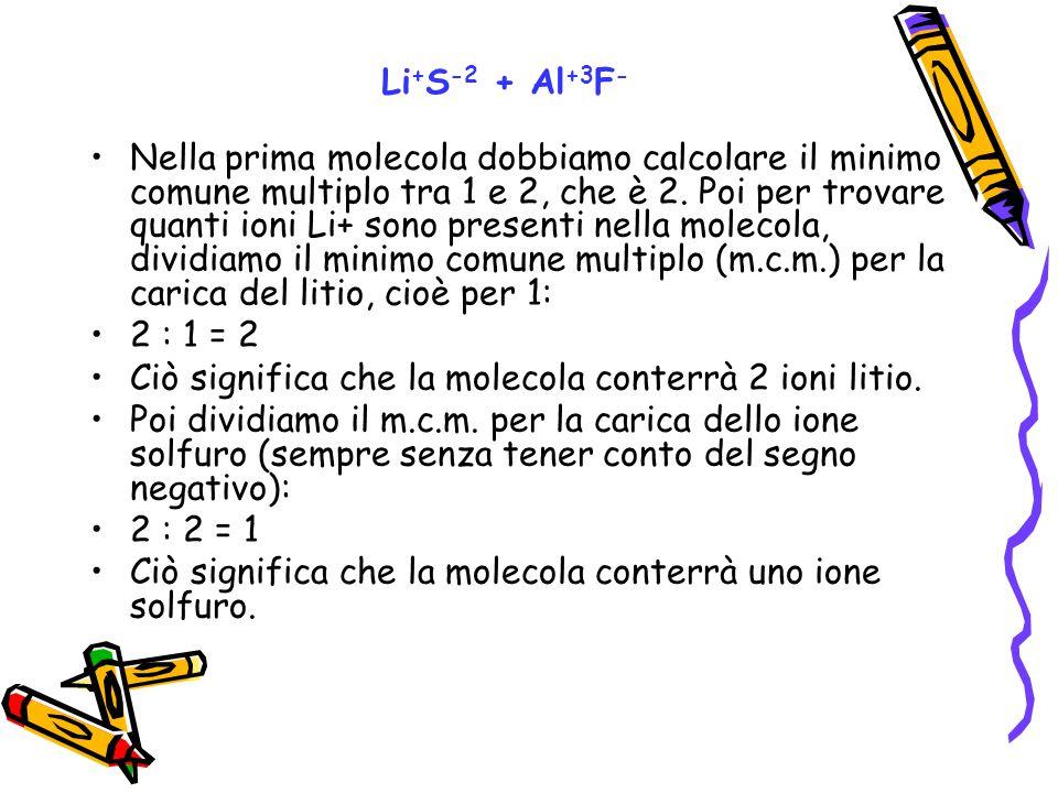 Nella prima molecola dobbiamo calcolare il minimo comune multiplo tra 1 e 2, che è 2. Poi per trovare quanti ioni Li+ sono presenti nella molecola, di