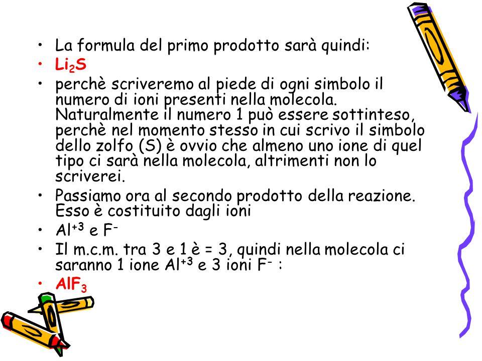 La formula del primo prodotto sarà quindi: Li 2 S perchè scriveremo al piede di ogni simbolo il numero di ioni presenti nella molecola. Naturalmente i