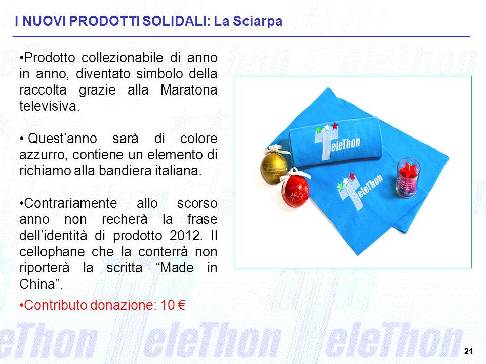 21 I NUOVI PRODOTTI SOLIDALI: La Sciarpa Prodotto collezionabile di anno in anno, diventato simbolo della raccolta grazie alla Maratona televisiva.