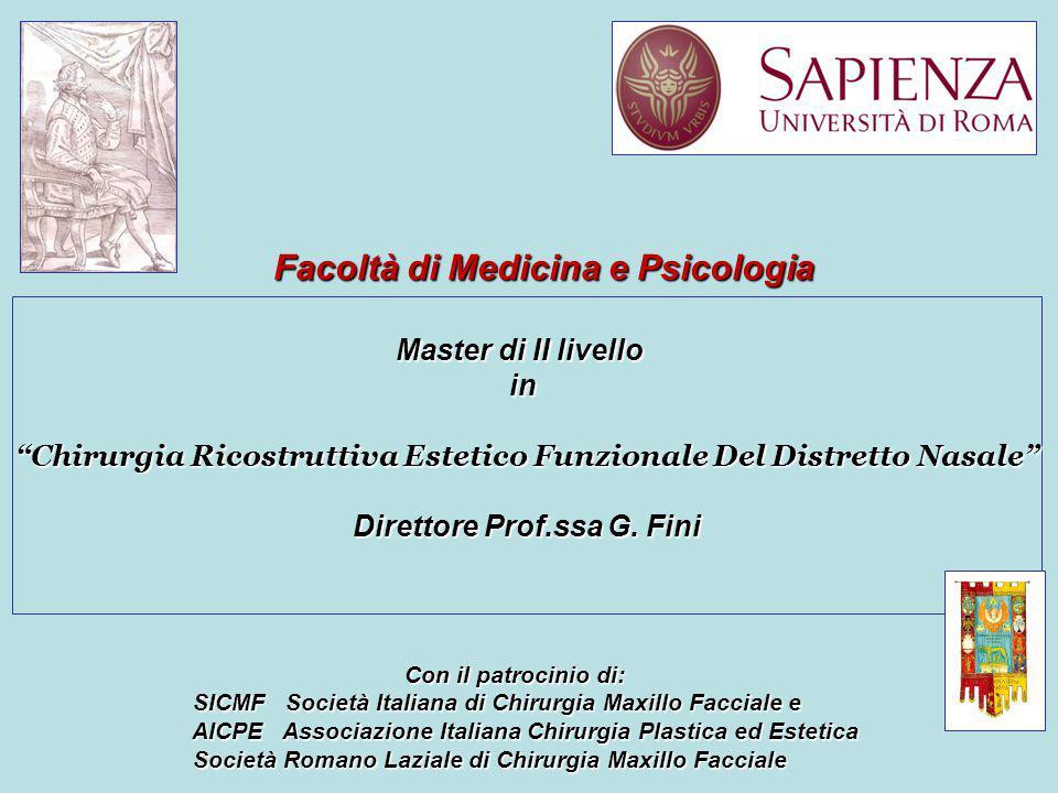 Master di II livello in Chirurgia Ricostruttiva Estetico Funzionale Del Distretto Nasale Direttore Prof.ssa G.