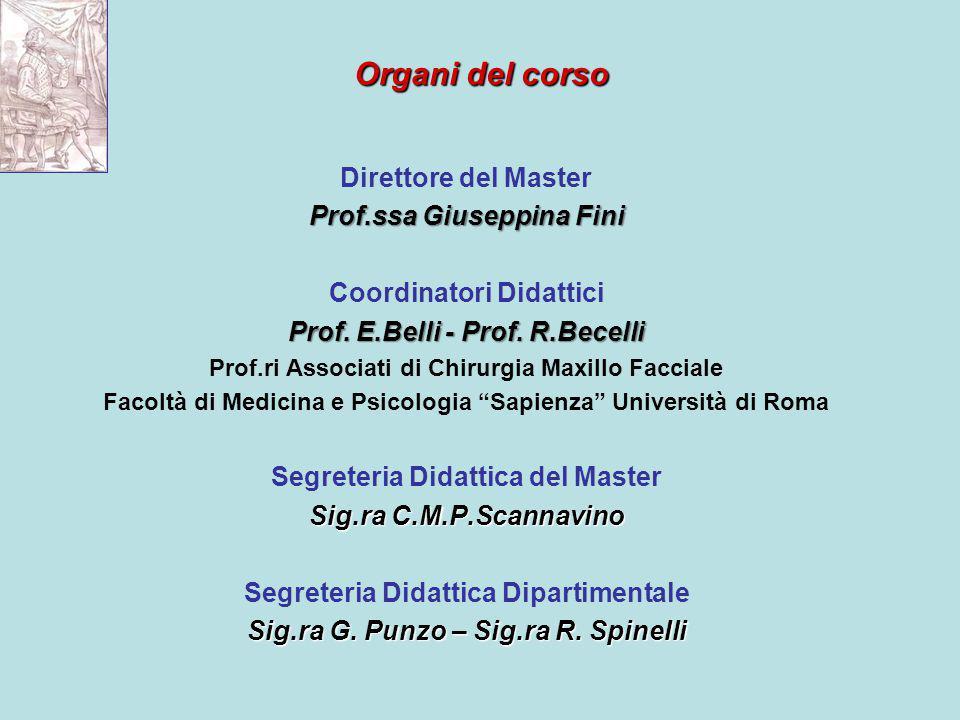Organi del corso Direttore del Master Prof.ssa Giuseppina Fini Coordinatori Didattici Prof.