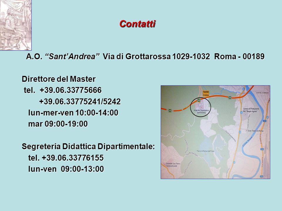 Contatti A.O. Sant'Andrea Via di Grottarossa 1029-1032 Roma - 00189 A.O.