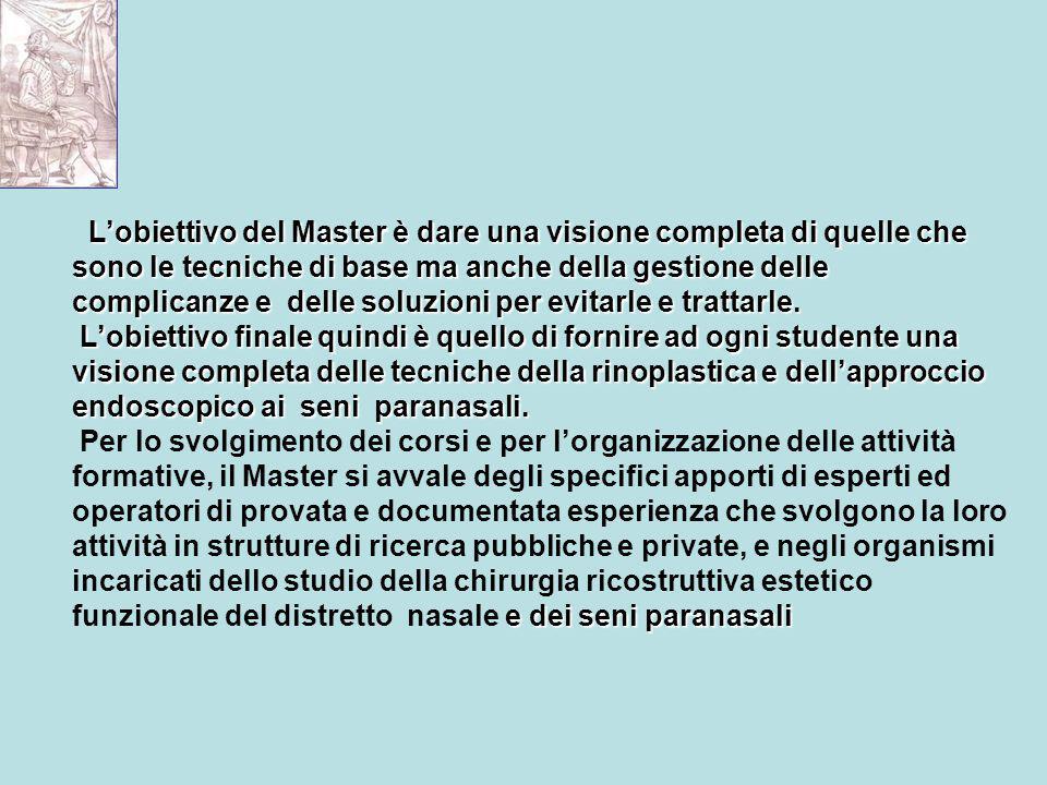 L'obiettivo del Master è dare una visione completa di quelle che sono le tecniche di base ma anche della gestione delle complicanze e delle soluzioni per evitarle e trattarle.