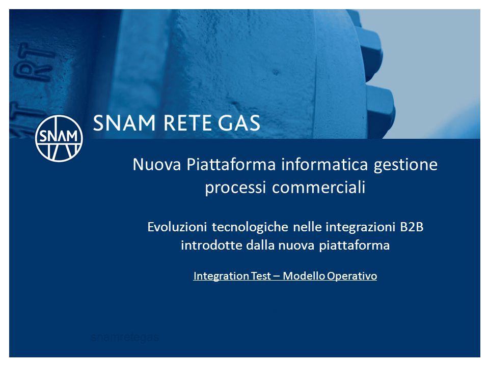 snamretegas Nuova Piattaforma informatica gestione processi commerciali Evoluzioni tecnologiche nelle integrazioni B2B introdotte dalla nuova piattafo