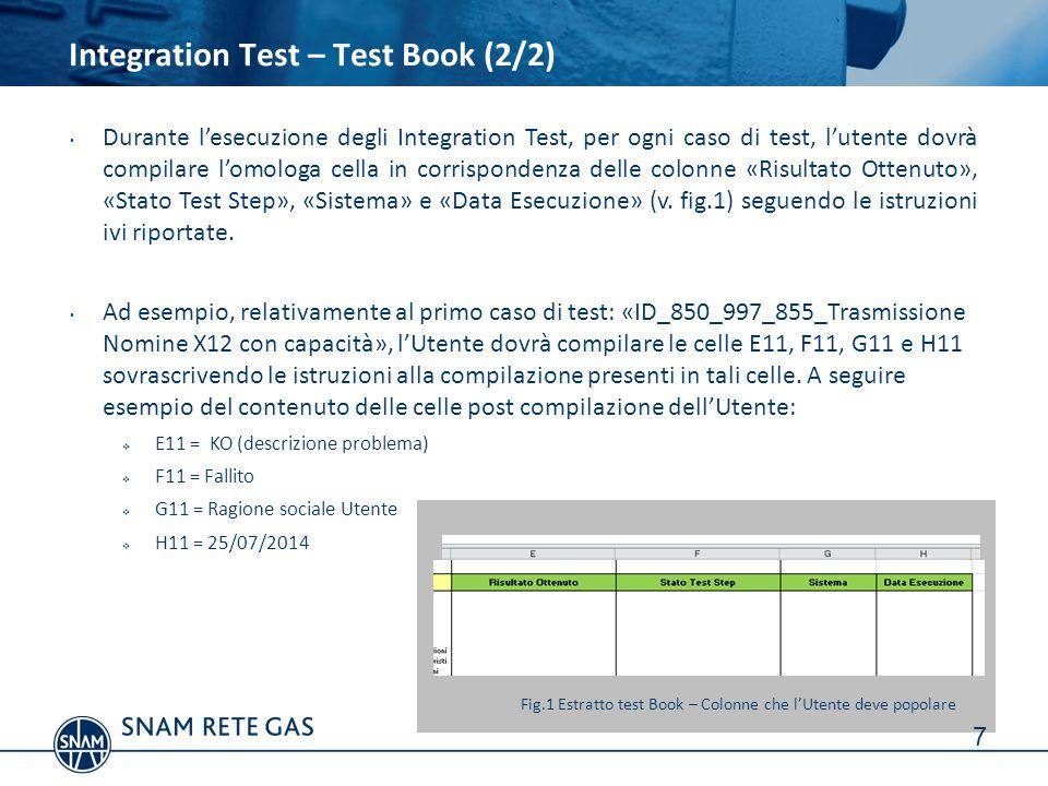7 Durante l'esecuzione degli Integration Test, per ogni caso di test, l'utente dovrà compilare l'omologa cella in corrispondenza delle colonne «Risult