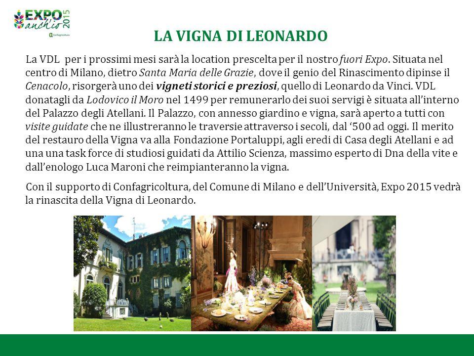 LA VIGNA DI LEONARDO La VDL per i prossimi mesi sarà la location prescelta per il nostro fuori Expo. Situata nel centro di Milano, dietro Santa Maria