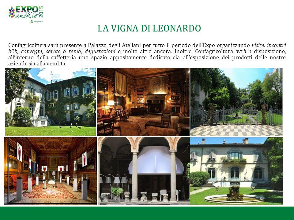 LA VIGNA DI LEONARDO Confagricoltura sarà presente a Palazzo degli Atellani per tutto il periodo dell'Expo organizzando visite, incontri b2b, convegni